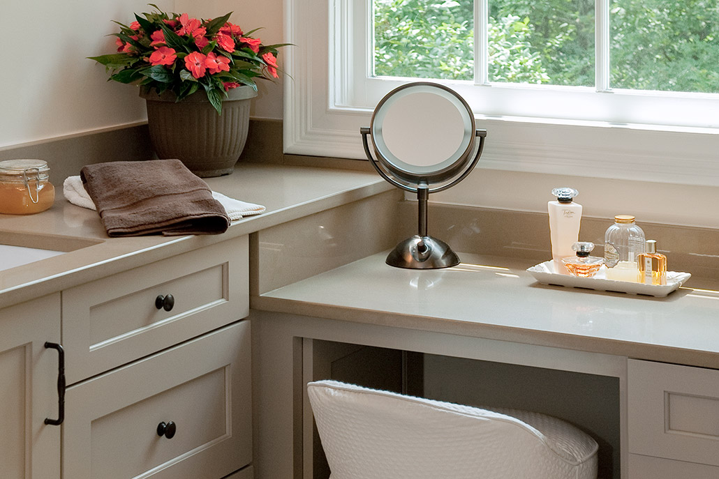 Color photograph of engineered stone countertop of bathroom vanity