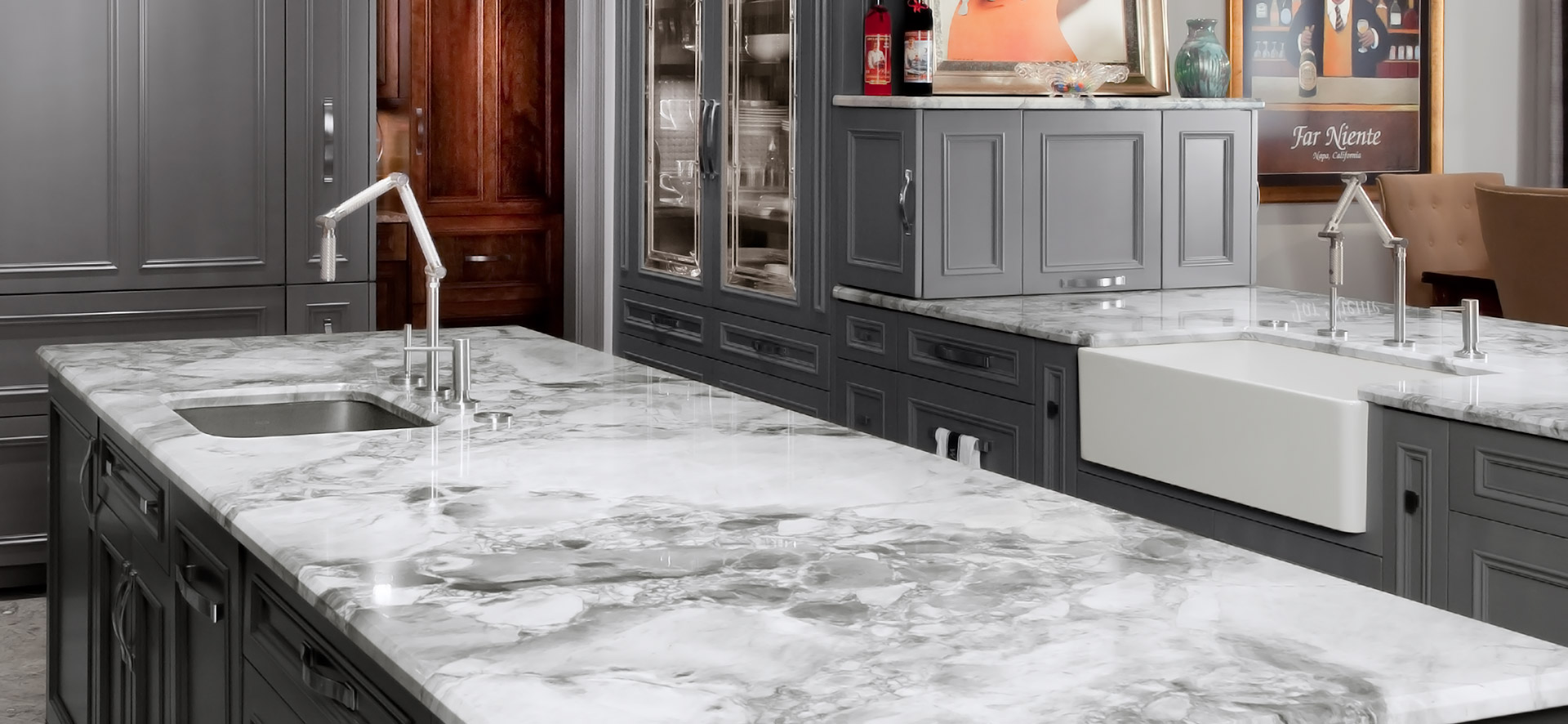 Image of marble countertops in contemporary kitchen