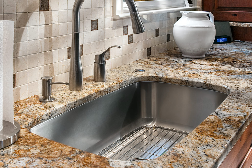 Color photograph stainless steel single bowl kitchen sink