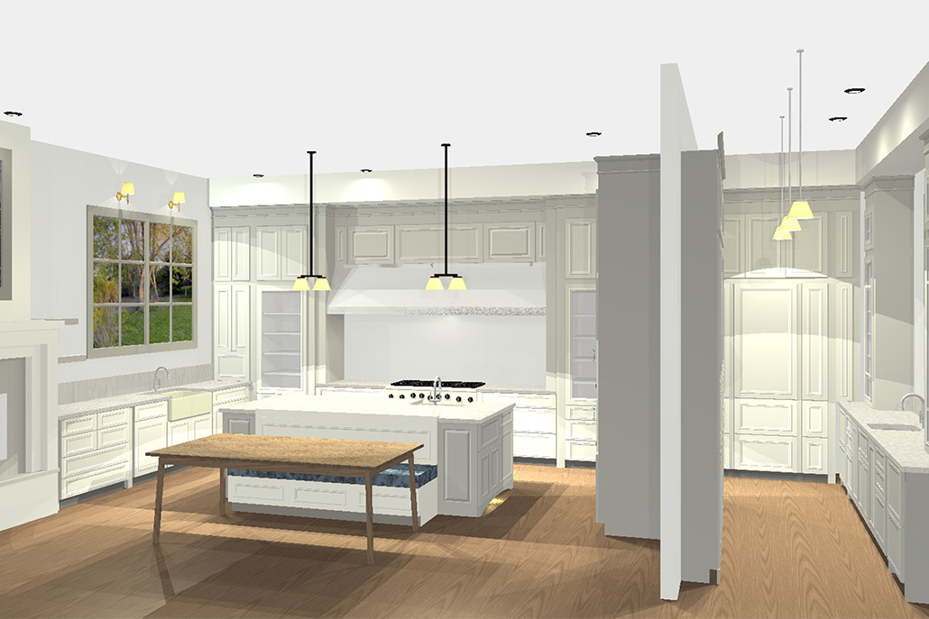3D rendering of transitional style kitchen - Vickery - New construction